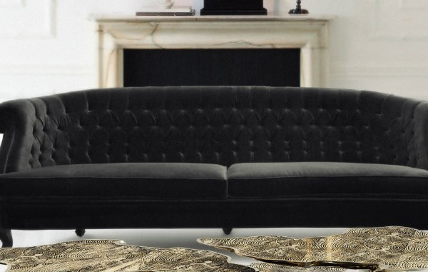 black sofa Living Room Furniture Ideas: How To Style A Black Sofa monet acrylic base center 600x381