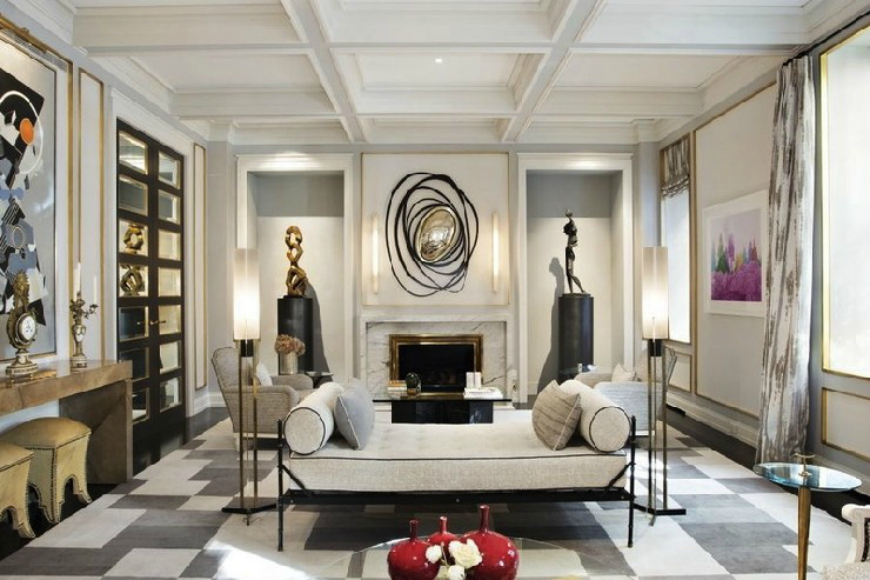 Jean Louis Deniot living room projects with modern sofas