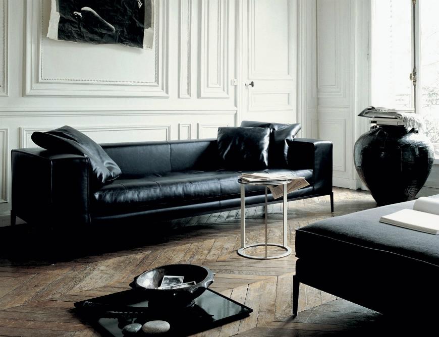 black leather sofa Living Room Inspiration: Black Leather Sofa black leather sofa 1 1
