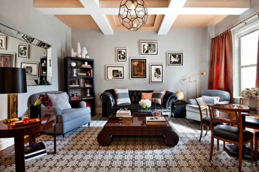 Black Sofa In Living Room
