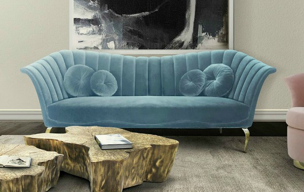 modern sofas in pastel colors