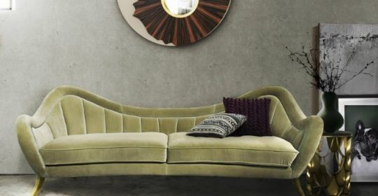 Living Room Decorated with Velvet Sofas